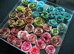 DIY Roses from Coffee Filters...would be cute on top of packages