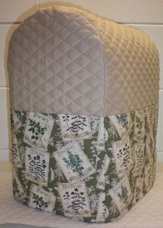 Tan Quilted Herb Garden Cover for 4.5, 5 & 6qt Kitchenaid Lift Bowl Mixer  w/6 Pockets