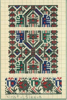 FolkCostume&Embroidery: Charted Embroidery designs from Vrlika, Dalmatia, Croatia Folk Embroidery, Embroidery Designs, Cross Stitch Designs, Cross Stitch Patterns, Cross Stitch Floss, Folk Clothing, Art N Craft, Flower Designs, Bohemian Rug