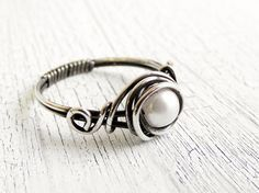 Antiqued Sterling Silver Pearl Ring Wire Wrapped Ring, Bridal Jewelry, Fresh Water Pearl on Etsy, $22.00 .