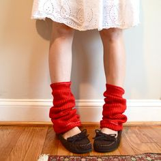Lumberjack leg warmers Red knit Upcycled Perfect by laMarmotaCafe, $11.00