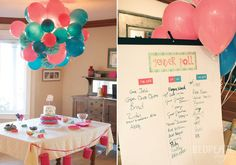 twin gender reveal party- balloon chandelier is pretty sick. and twin gender pollin options (: