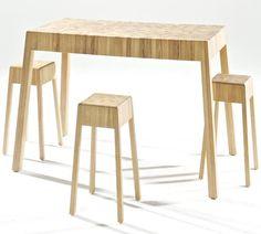 Contemporary wooden high bar table