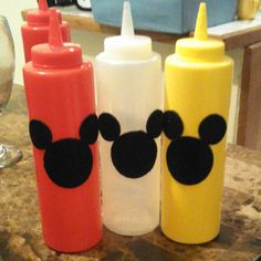 Mickey mouse party ideas for hamburgers and hotdogs table