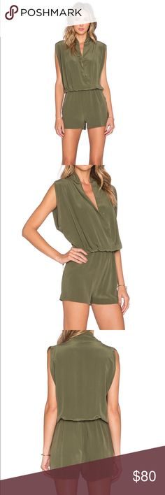 5a11f455f8b5 Shop Women s Anine Bing Green size M Dresses at a discounted price at  Poshmark. Description  NWOT Anine Bing Silk Army Romper Size M.