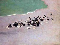 Félix Vallotton , femmes faisant sécher leur linge sur la plage, à Etretat.