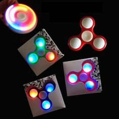 LED Fidget Spinner. This thing will stay lit up for up to 20 hours of continuous spinning. Loads of fun and cooler than everyone else's. 1 to 4 min spin time. WOW. The lights are activated by removing