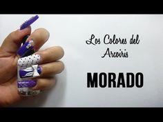 """6 """"Los Colores del Arcoiris"""" Diseño de uñas MORADO - YouTube"""