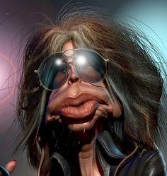 Steven Tyler da Banda Aerosmith (Caricatura: B. Mia Tyler, Steven Tyler, Funny Caricatures, Celebrity Caricatures, Celebrity Drawings, Cartoon Faces, Funny Faces, Cartoon Art, Photo Repair