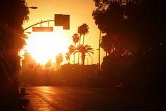 california streets, sunset