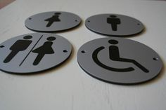 ROUND SILVER TOILETS #PUB SHOP BUSINESS BATHROOM DOOR #SIGNS -  NEW