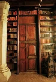 Through the mysterious door....in a library...filled with old books...with columns supporting the ceiling