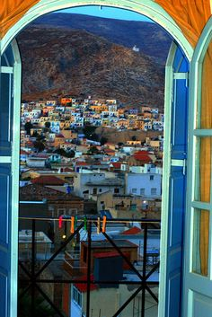 Room with a view to Pothia town. Kalymnos island, Dodecanese, Greece