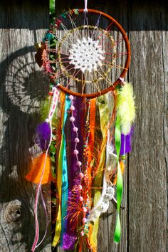 Dreamcatcher  Colorful  Rainbow  Doily by DreamsByAndrea on Etsy, $40.00