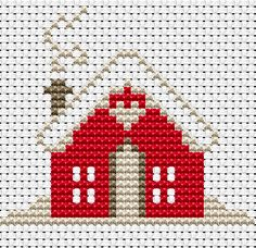 Cross Stitch Charts Free Cross Stitch Patterns - Arte Del Ricamo – Embroidery and Arts Creatives Cross Stitch House, Xmas Cross Stitch, Cross Stitch Cards, Simple Cross Stitch, Cross Stitching, Cross Stitch Embroidery, Cross Stitch Patterns Free Christmas, Embroidery Patterns, Loom Patterns