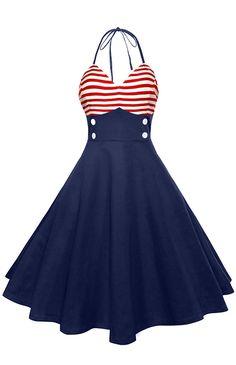Halter American Flag Buttoned Vintage Dress