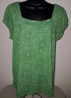 Sonoma Woman's Light/Dark Green Floral Design Shirt Size XL #Sonoma #Blouse #Casual