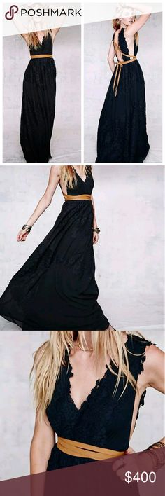 Free People black PRINCIPESSA MAXI DRESS gown Romantic soft open back V-Neck maxi adorned in floral lace. Features full flowy skirt. Fully lined with hidden zip and hook and eye closure on back. Vegan suede crisscross tie belt adds interest and juxtaposes feminine style of gown. Lovely at a bohemian wedding or sweet affair.    *100% Rayon  *Dry Clean  *Import  Measurements for 6: Bust: 33 1/2?  Waist: 26 3/4?  Hips: 45?  Length: 62?   BRAND NEW WITHOUT TAGS Free People Dresses Maxi