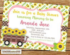 Sunflower Baby Shower Invitation | Sunflower Baby Shower Invite | Sunflower  Baby Shower | Sunflower Invites
