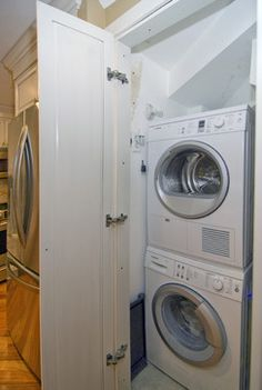 Case Design/Remodeling, Inc. - laundry room - dc metro - Case Design/Remodeling, Inc. Small Laundry Closet, Laundry Rooms, Beach Bungalows, Lake Cabins, New Kitchen, Kitchen Ideas, Stacked Washer Dryer, Amazing Bathrooms, My Dream Home