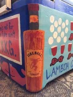 could do a side with jameson, fireball, tequila, . Fraternity Gifts, Fraternity Coolers, Frat Coolers, Pi Beta Phi, Kappa Alpha Theta, Delta Gamma, Sorority Canvas, Sorority Paddles, Sorority Recruitment