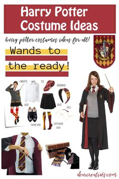 Easy Harry Potter Costume Ideas Are you a Harry Potter fan? Are you searching for Halloween costumes to diy or Cosplay? Quick, Easy Harry Potter Costumes + More costume ideas!