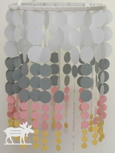 Each mobile is made with any color you would like, up to 4 colors, and features descending sizes of circles. They come ready to hang. Length