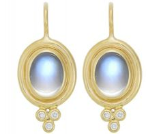 18K Classic Earrings in Royal Blue Moonstone with Diamonds - 8x6mm - Temple St. Clair