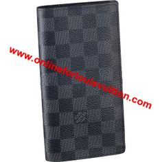 f76bf594032b LOUIS VUITTON DAMIER GRAPHITE CANVAS BRAZZA WALLET N62665 -12 credit card  slots -Slot for