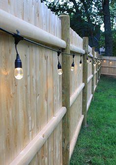 backyard cafe lights along the fence – fun idea! backyard cafe lights along the fence – fun idea! Backyard Cafe, Backyard Patio Designs, Small Backyard Landscaping, Backyard Fences, Backyard Projects, Diy Patio, Budget Patio, Landscaping Ideas, Fenced In Backyard Ideas