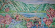 """""""Hawaiian Goiter Forest"""", Watercolor and Ink on Canvas, 3' x 6', 2006"""
