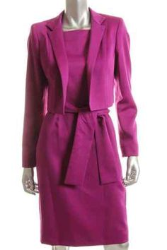 Anne Klein Purple Sleeveless Square Neck Belted Dress with Cropped Jacket Belted Dress, Anne Klein, Fashion Designers, Purple, Coat, Jackets, Dresses, Down Jackets, Vestidos