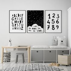 Kids wall decor black and white kids art Scandinavian nursery prints nursery alphabet black and white nursery wall art print kids decor