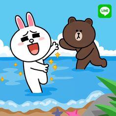 Cute Couple Cartoon, Cute Love Cartoons, Cony Brown, Brown Bear, Line Cony, Cosplay Tumblr, Bunny And Bear, Brown Line, Emoji Faces