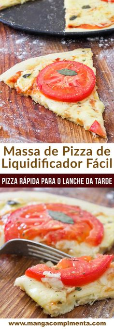 Massa de Pizza de Liquidificador Fácil - Manga com Pimenta - - Pizza Recipes, Snack Recipes, Pizza Dough, Pizza Hut, Clean Eating Snacks, Healthy Snacks, I Love Pizza, Muffins, Spaghetti