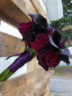 Eggplant Calla Lilies & Black Bacara Roses | Adorn by Zilli
