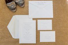 Washington, DC wedding photos by Mikkel Paige. Elegant classic white invitation for a wedding at The Ritz Carlton, Pentagon City.