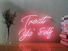 handmade home decor Treat Yo Self Real Glass Neon Sign For Bedroom Garage Bar Man Cave Room Home Decor Handmade Artwork Wall Lighting Includes Dimmer Rooms Home Decor, Bedroom Decor, Wall Decor, Bedroom Wall, Bedroom Artwork, Bedroom Colors, Cute Dorm Rooms, Cool Rooms, Neon Sign Bedroom