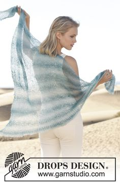 "Knitted DROPS shawl in garter st in ""Kid-Silk"". ~ DROPS Design"