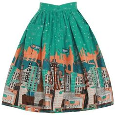 'Adalene' Green New York Print Swing Skirt ($34) ❤ liked on Polyvore featuring skirts, green, swing skirt, patterned skater skirt, green skirt, wide skirt and button front skirt