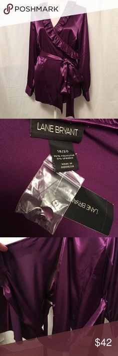 Lane Bryant satin wrap top So pretty!!! Wrap top, long thick wrap belt. 18/20 Lane Bryant Tops
