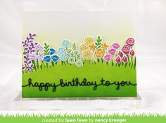 Lawn Fawn - Penelope's Blossoms, Meadow Borders, Happy Birthday Border, Lawn Fawn ink: Juice Box, Fresh Lavender, Fish Tank, Merman, Celery Stick, Jalapeno, Freshly Cut Grass, Sunflower, Fake Tan, Plastic Flamingo, Lobster _ card by Nancy for Lawn Fawn blog