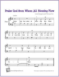 Praise God from Whom All Blessings Flow | Free Sheet Music for Piano