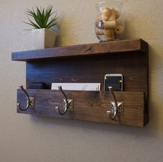 Modern Rustic Entryway Coat Rack Shelf and Mail Phone by KeoDecor