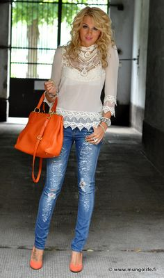 lace top & ripped jeans & orange accessories
