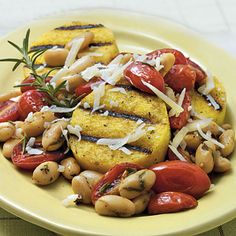 Grilled Polenta with Tomatoes and White Bean - 29 Best Polenta Recipes  - Cooking Light