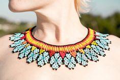COLOMBIAN native beaded necklace por CultureOfHands en Etsy