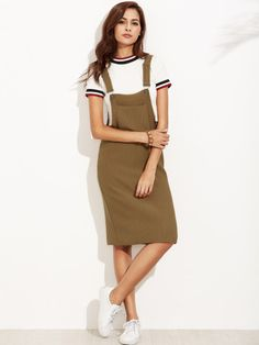 034768cdebe Khaki Ribbed Overall Dress With Pockets