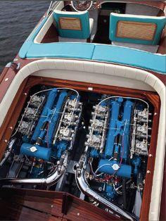 Riva Aquarama watercraft with twin Lamborghini V12 engines modified for marine use