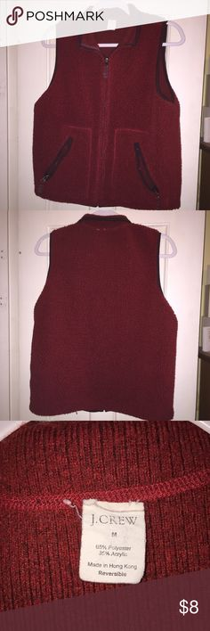 Burgundy Red Used J Crew Reversible Vest Medium Used Medium Red J Crew vest. It is reversible, but is the same color on the inside. Inside has pilling and some wear, but this vest still has a ton of life left in it! Perfect for fall layering! Please let me know if you have questions! Thanks for looking! :) J. Crew Jackets & Coats Vests